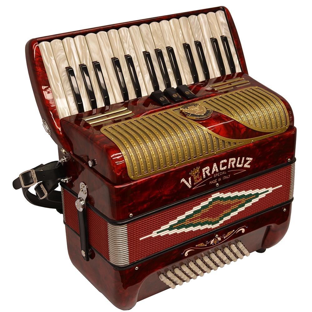 Excalibur Veracruz MII 60 Bass Piano Accordion - Red & Gold