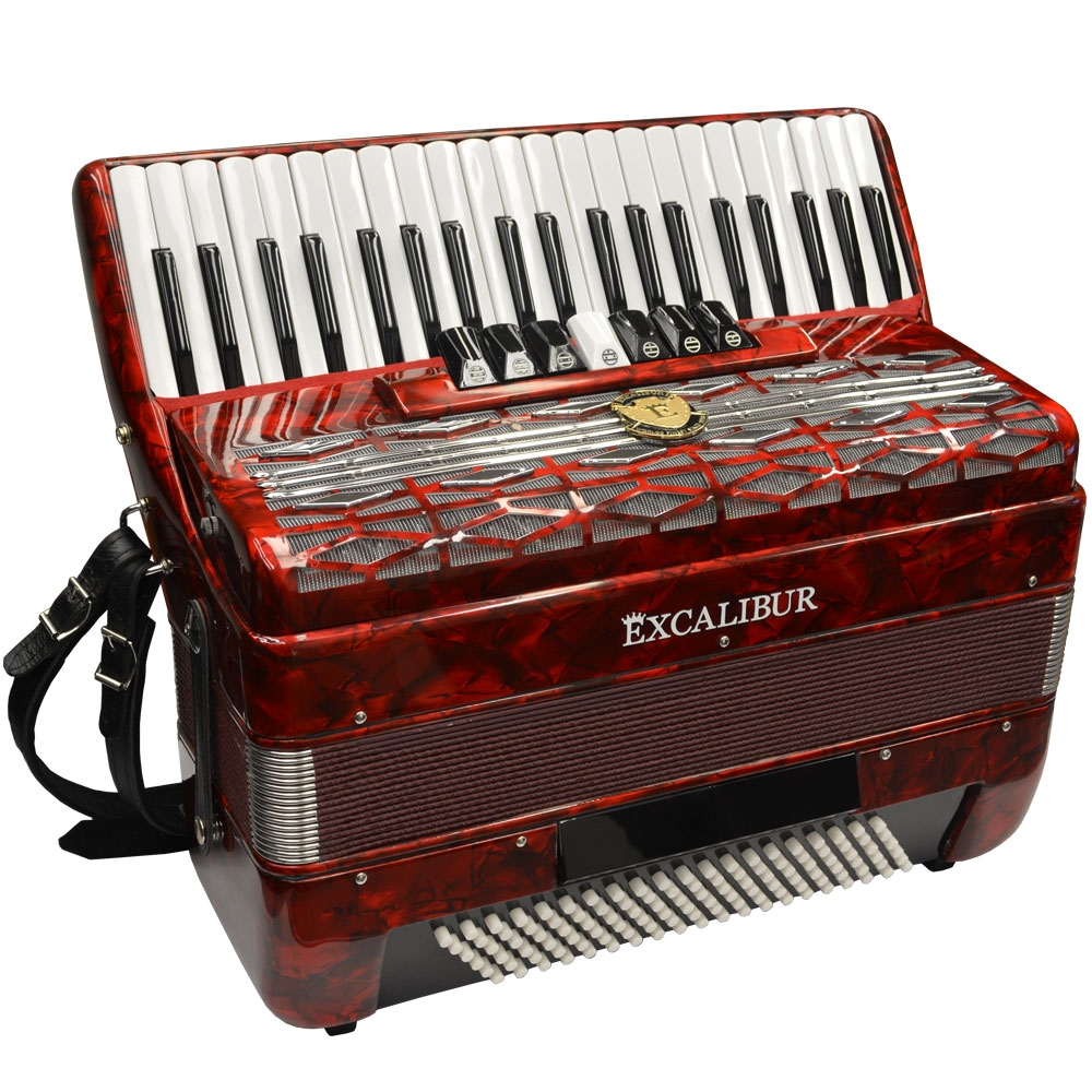 Excalibur Super Classic 120 Bass Accordion - Red