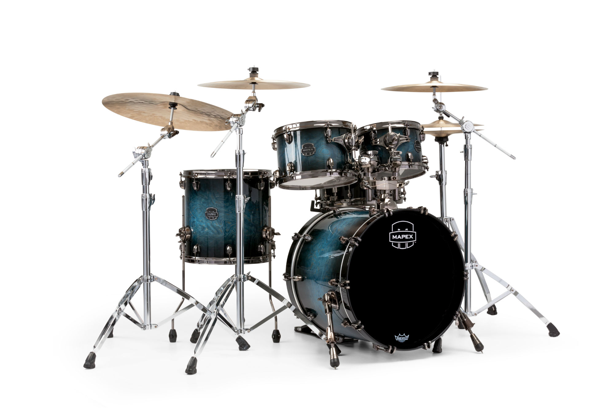 Mapex Saturn V MH Exotic Fusion 4-piece shell pack with SONIClear Edge - SV504XBMSL - Deep Water Maple Burl