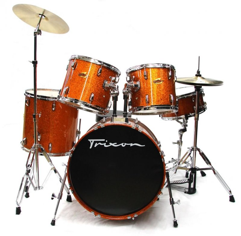 Trixon Hamburg Maple Drum Set w/ Cymbals & Throne - Orange Sparkle