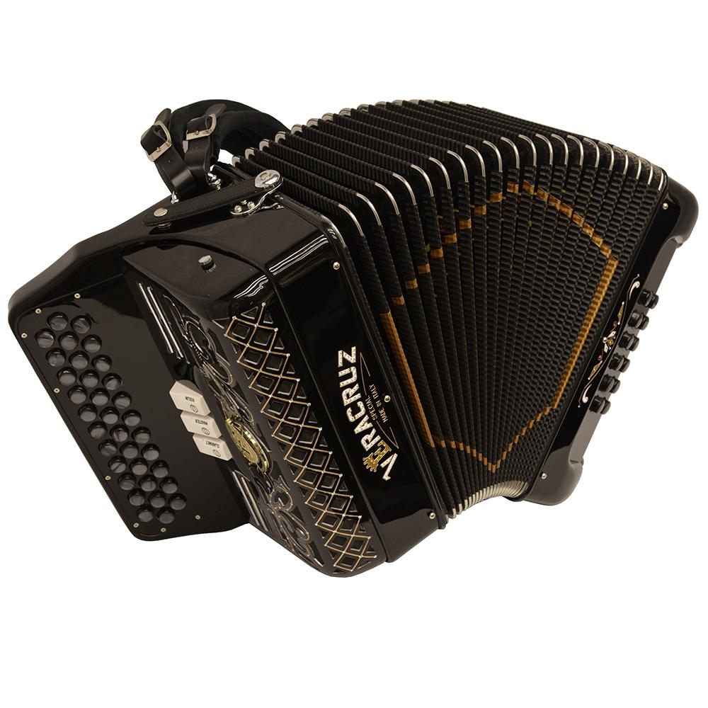 Excalibur Veracruz Italy Special Edition 3 Row Button Accordion - Black