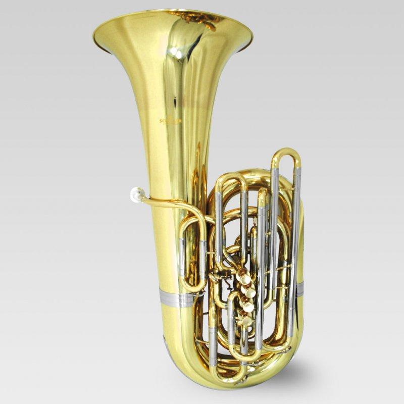 Schiller American Heritage CC 5 Valve Piston Compensating Tuba – Brass