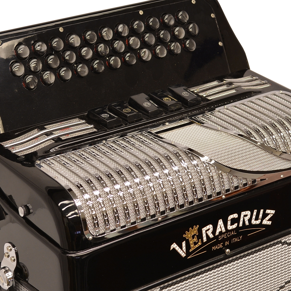 Excalibur Veracruz 5 Switch Button Accordion - Black & Silver