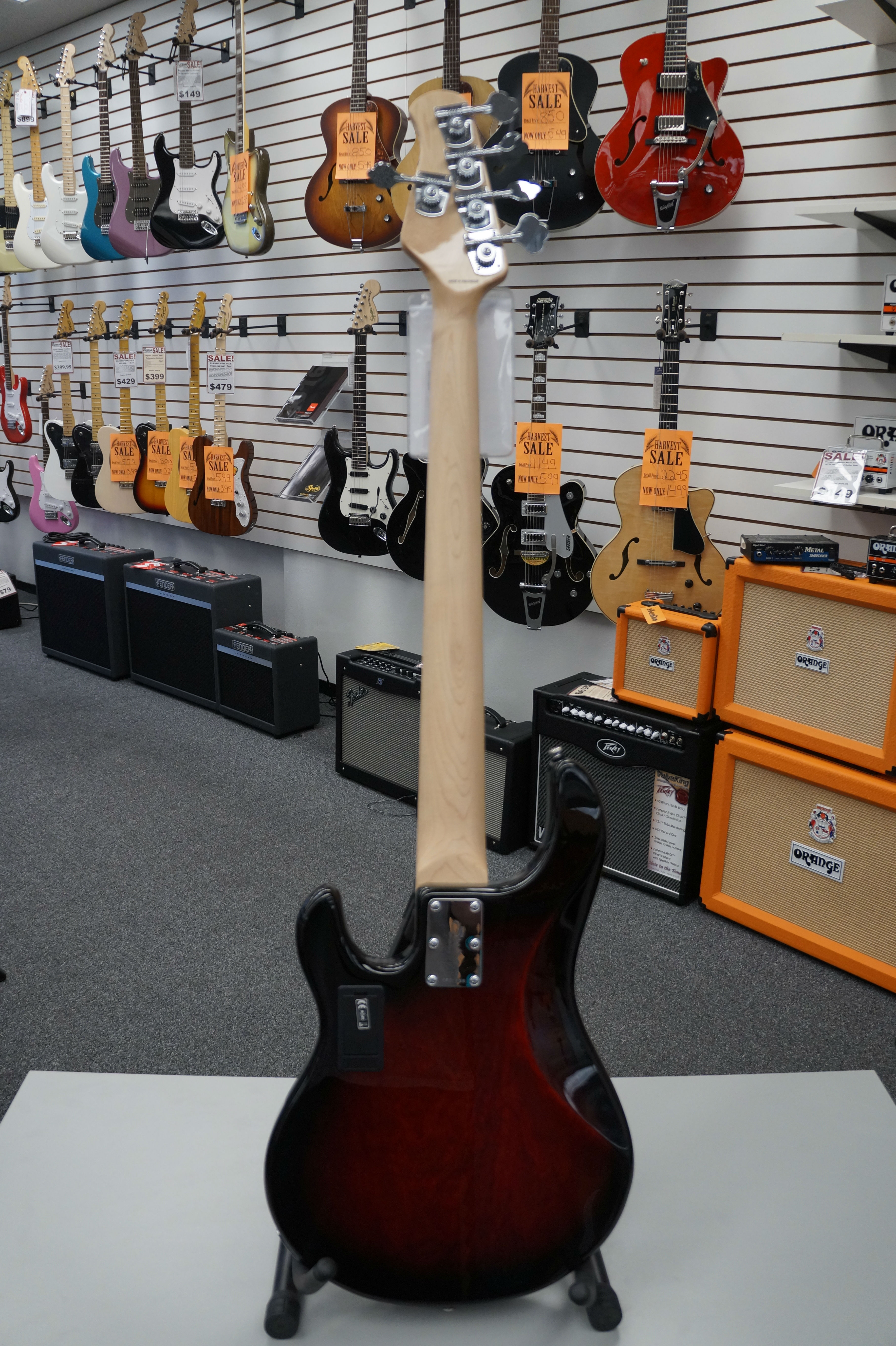 Sterling By Music Man Ray 35 Electric Bass Ruby Red Burst