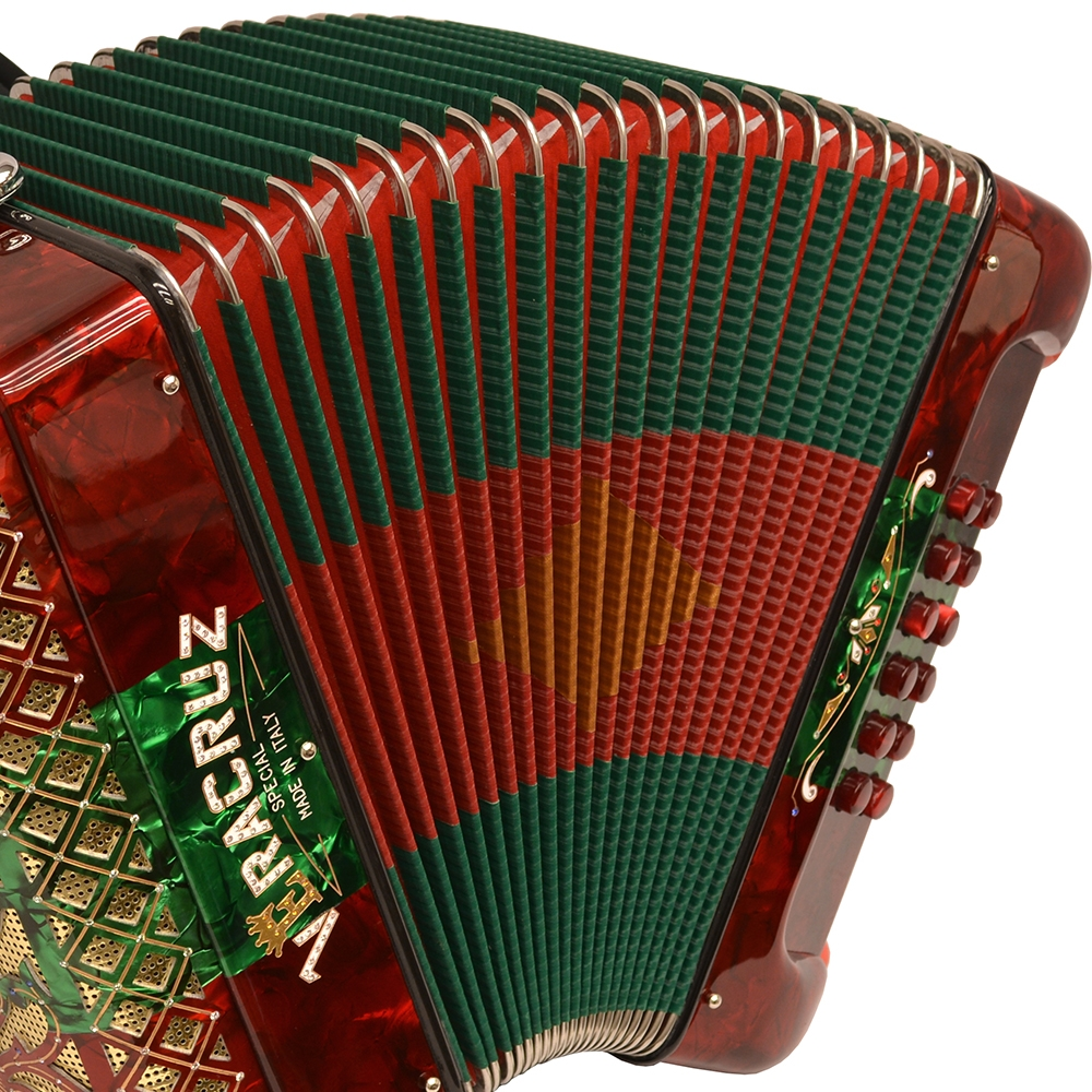 Excalibur Veracruz Special Italy Edition 3 Switch Button Accordion - Red/Green/Red