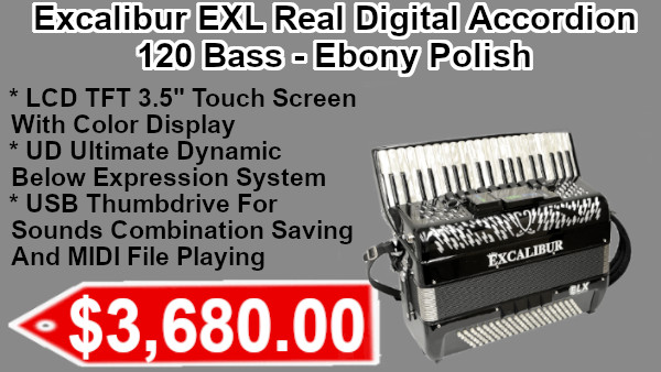 Excalibur EXL Real Digital Accordion 120 Bass - Ebony Polish on sale