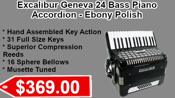 Excalibur Geneva 24 Bass Piano accordion ebony polish on sale