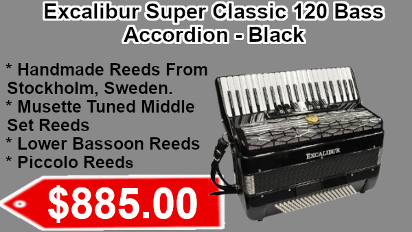 Excalibur Super Classic 120 Bass Accordion - Black on sale