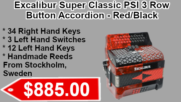 Excalibur Super Classic PSI 3 Row Button Accordion - Red/Black on sale