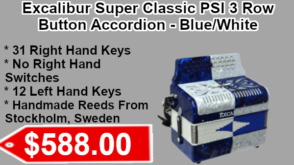 Excalibur Super Classic PSI  3 Row Button Accordions blue/white on sale