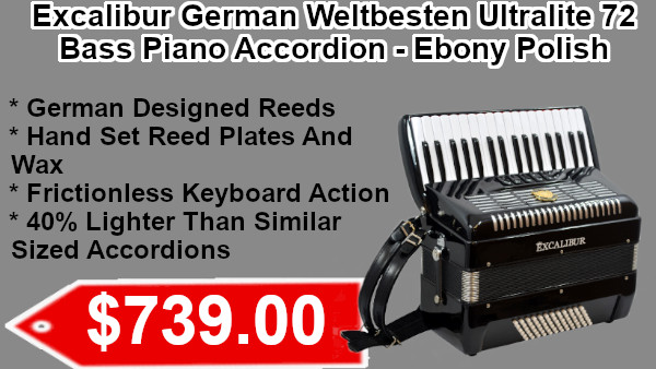 Excalibur German Weltbesten Ultralite 72 Bass Piano Accordion - Ebony Polish on sale