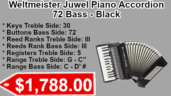 Weltmeister Juwel Piano Accordion 72 Bass Blackon sale