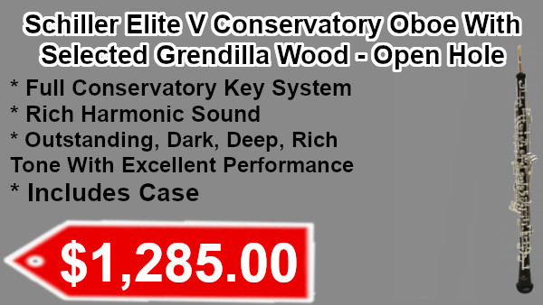 Schiller Elite V Conservatory Oboe with Selected Grenadilla Wood-Open Hole on sale