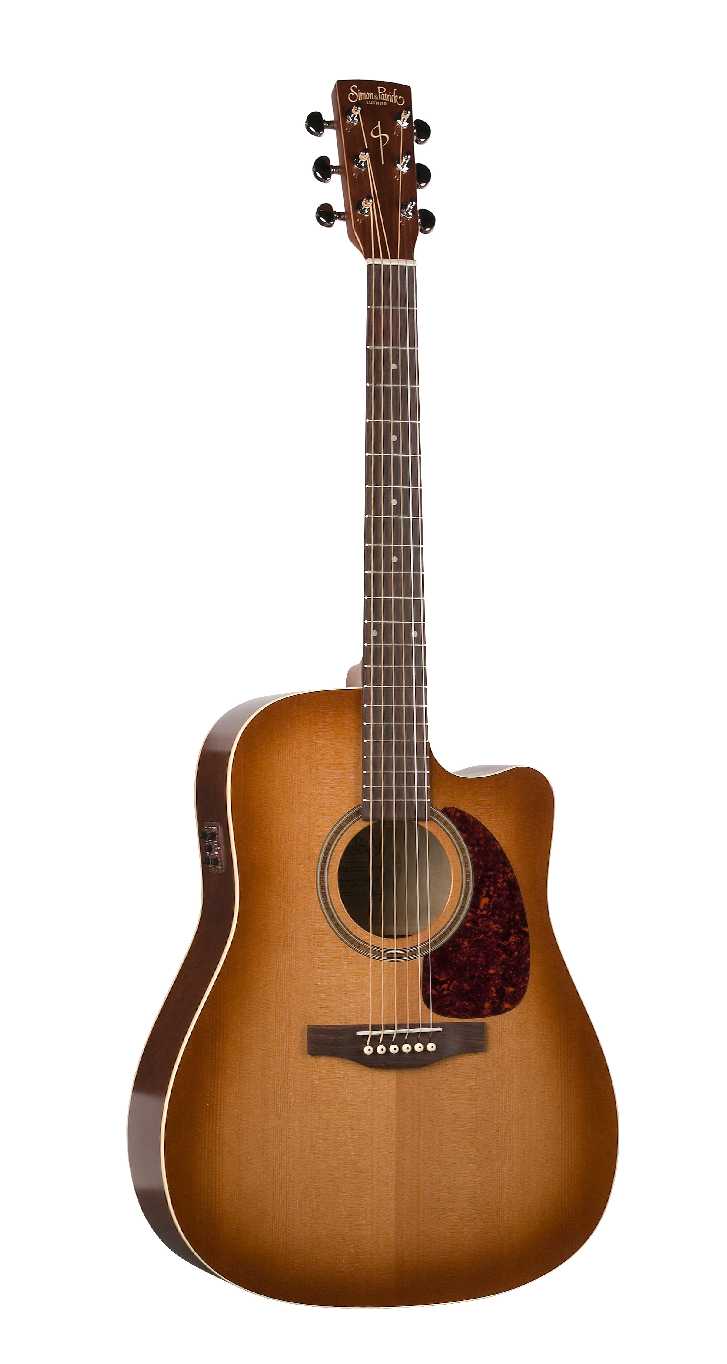 Simon & Patrick 33775 Cedar Vintage Burst Gloss Top (GT) Cutaway Dreadnought Acoustic Electric Guitar w/ B-band A3T