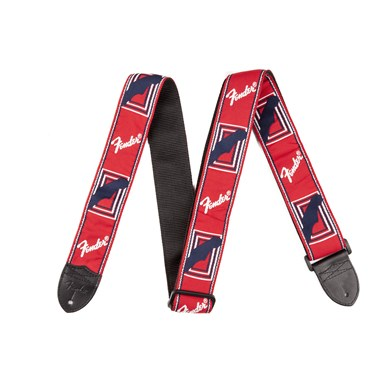 Fender® 2 Inch Monogrammed Guitar Strap - Red/White/Blue