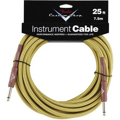 FENDER® 25 ft CUSTOM SHOP CABLES (STRAIGHT-STRAIGHT ANGLE) - Tweed