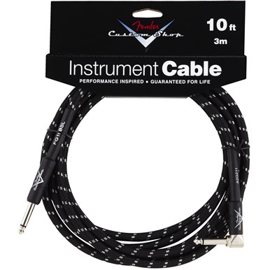 FENDER® CUSTOM SHOP CABLE (STRAIGHT-RIGHT ANGLE) - Black Tweed - 10 ft