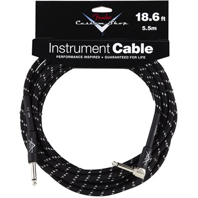 FENDER® CUSTOM SHOP CABLE (STRAIGHT-RIGHT ANGLE) - Black Tweed - 18.6 ft