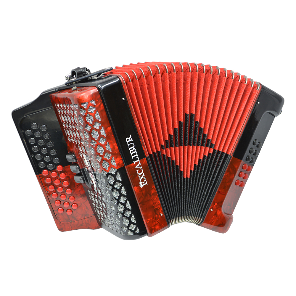 Excalibur Super Classic PSI 3 Row Button Accordion - Red/Black -  Key of FBE