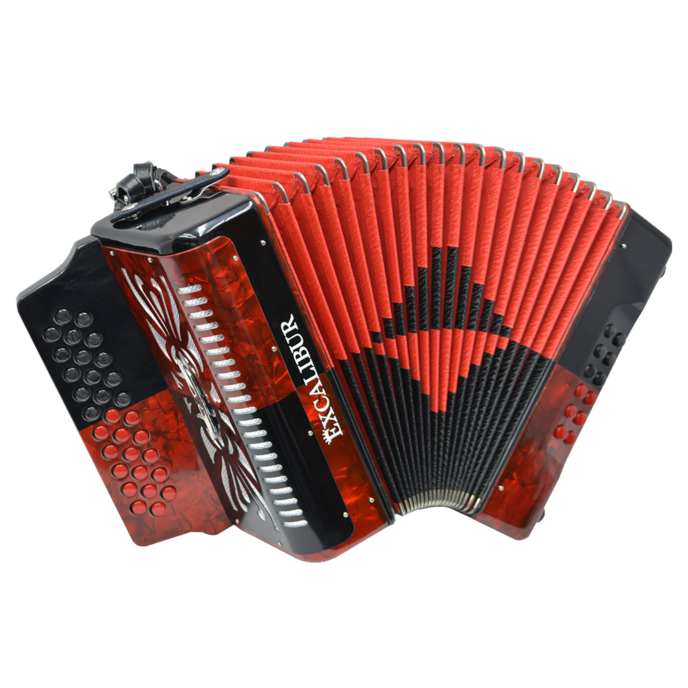 Excalibur Super Classic PSI 3 Row - Button Accordion - Red/Black -  Key of GCF