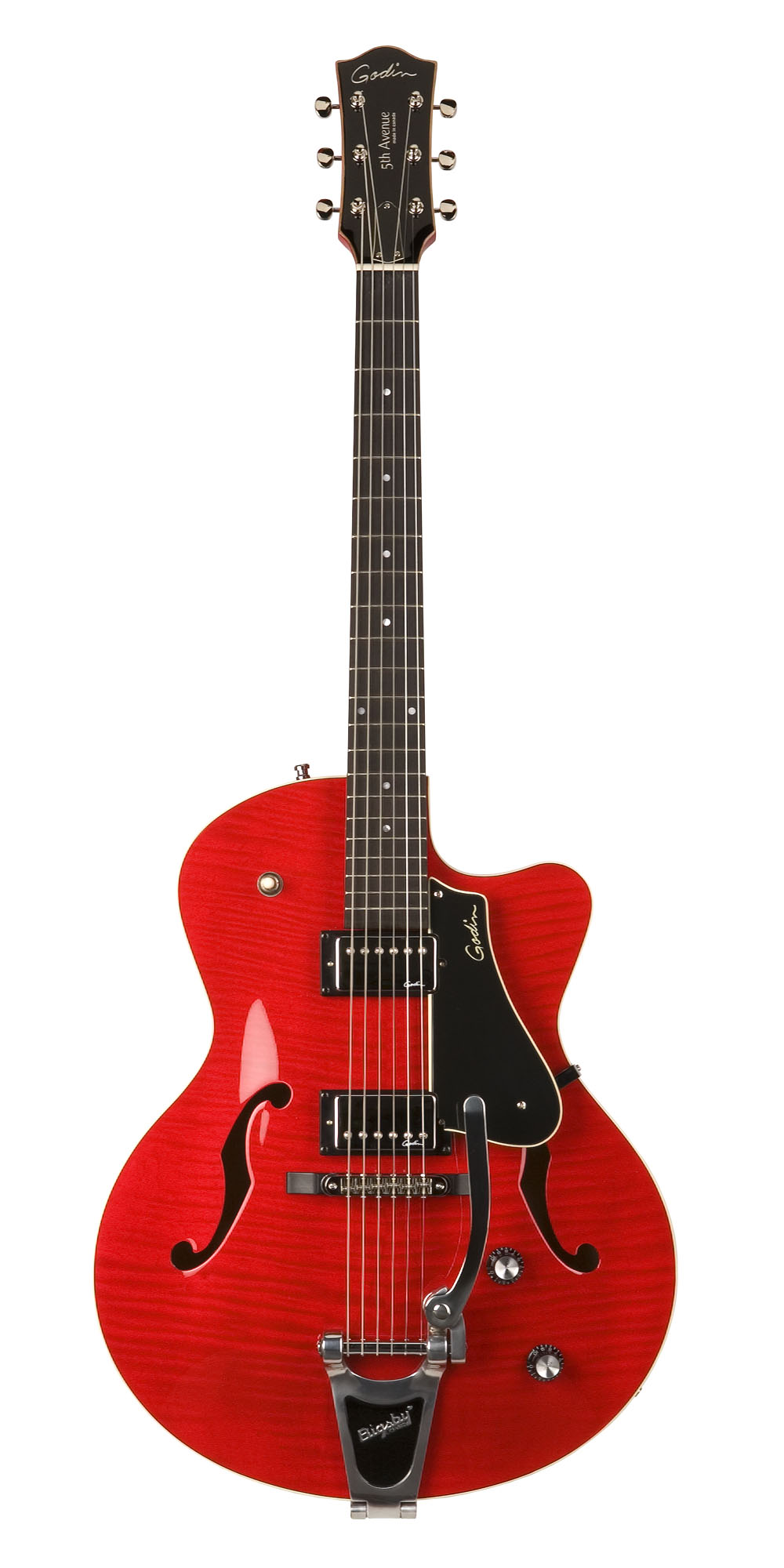 Godin 35182 5th Avenue Uptown Trans Red Archtop Semi-Hollow Electric Guitar