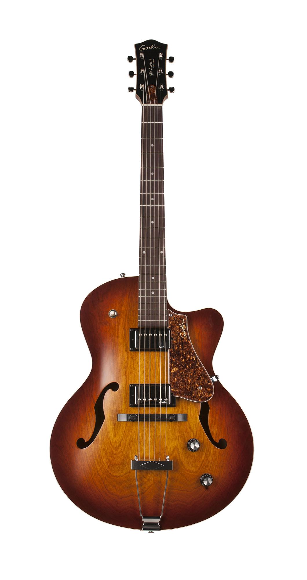 Godin 39289 5th Avenue CW HB Cognac Burst Archtop Semi-Hollow Electric Guitar