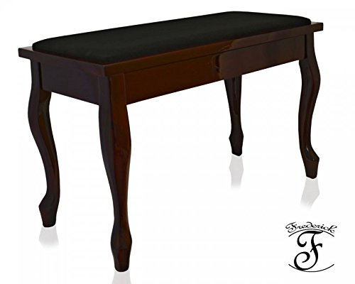 Frederick Deluxe Piano Bench Mahogany French with Padded Top