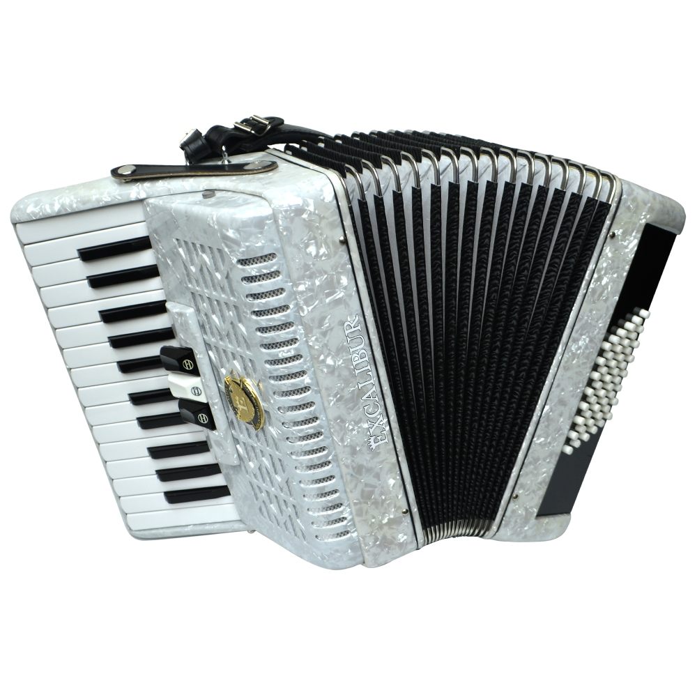 Excalibur Frankfurt 48 Bass Ultralite Accordion - Pearl White