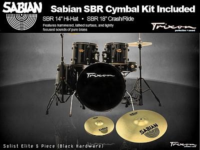 Trixon Solist Elite 5-Piece - Black with Black Hardware w/ Sabian Cymbal Package