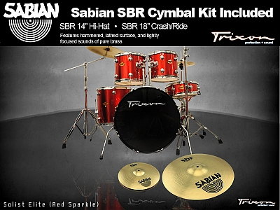 Trixon Solist Elite 5-Piece - Red Sparkle w/ Sabian Cymbal Package