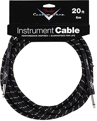 Fender?? FG20bs Custom Shop Performance Guitar Bass Instrument Cable 20' Black Tweed