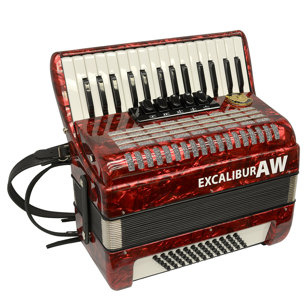Excalibur Akordeon Werks (AW) 60 Bass Piano Accordian - Pearl Red