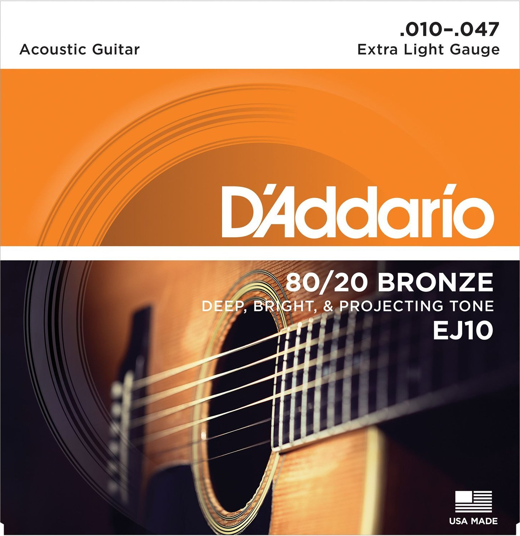 D Addario EJ10 80/20 Bronze Acoustic Guitar Strings, Extra Light, 10-47