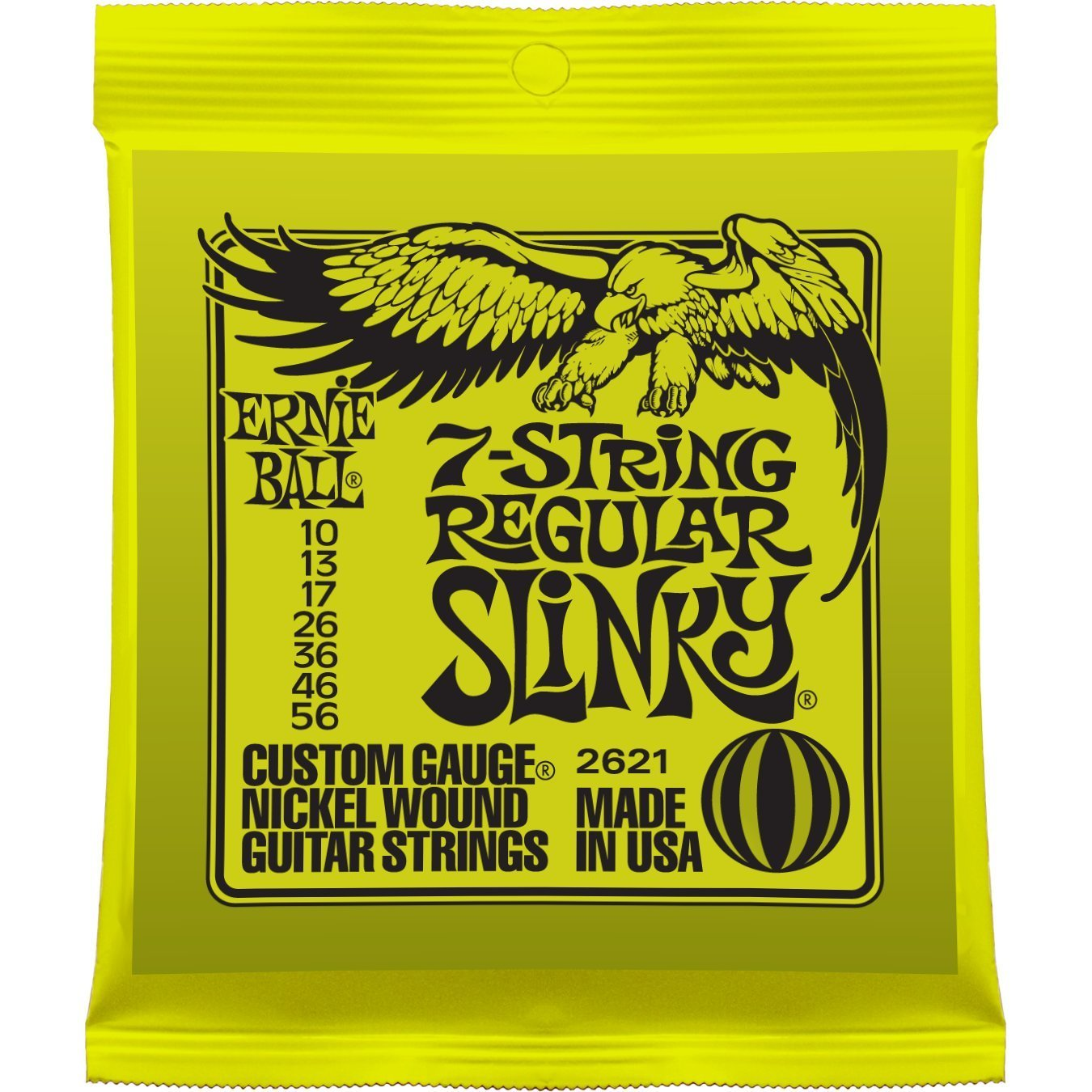 Ernie Ball 2621 Nickel Wound Set, 7-String Regular Slinky .010 - .056