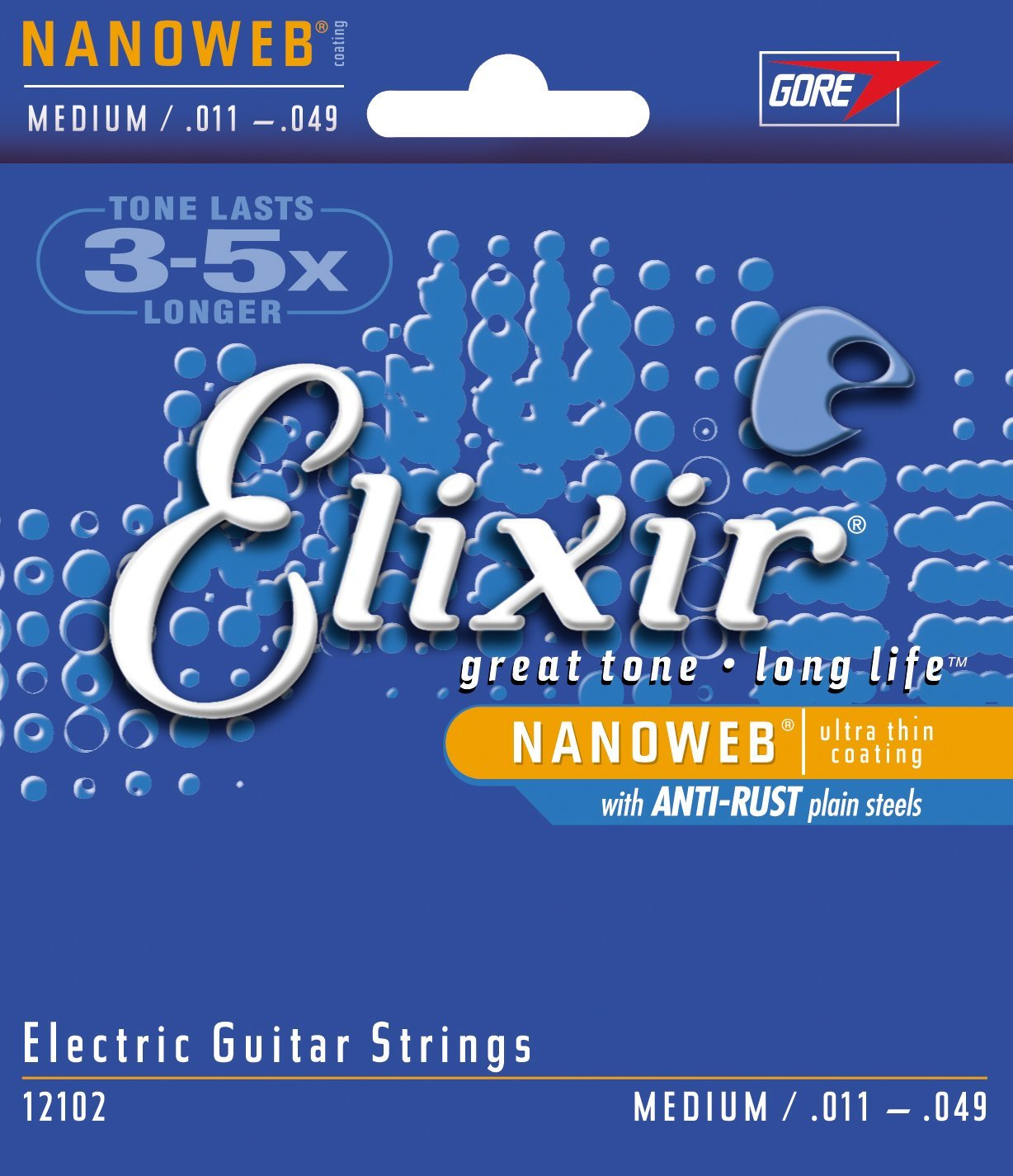 Elixir 12102 Electric Guitar Strings with NANOWEB Coating, Medium (.011-.049)