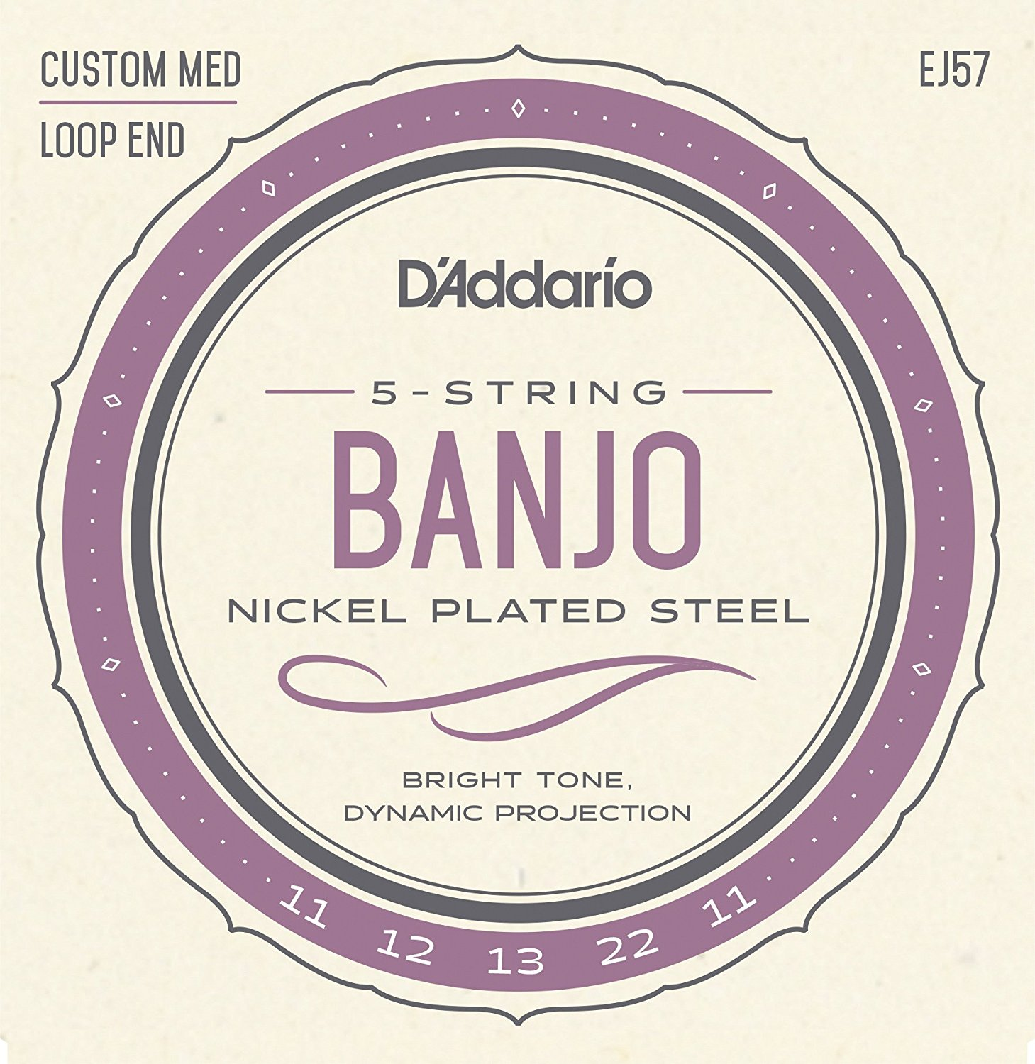 D Addario EJ57 5-String Banjo Strings, Nickel, Custom Medium, 11-22
