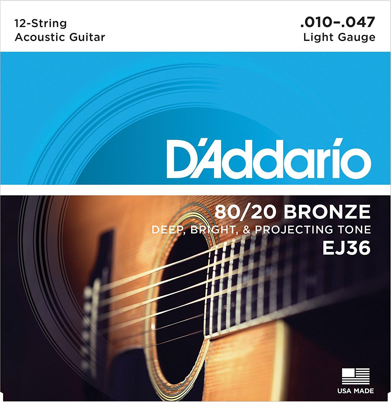 D Addario EJ36 80/20 12-String Bronze Acoustic Guitar Strings, Light, 10-47