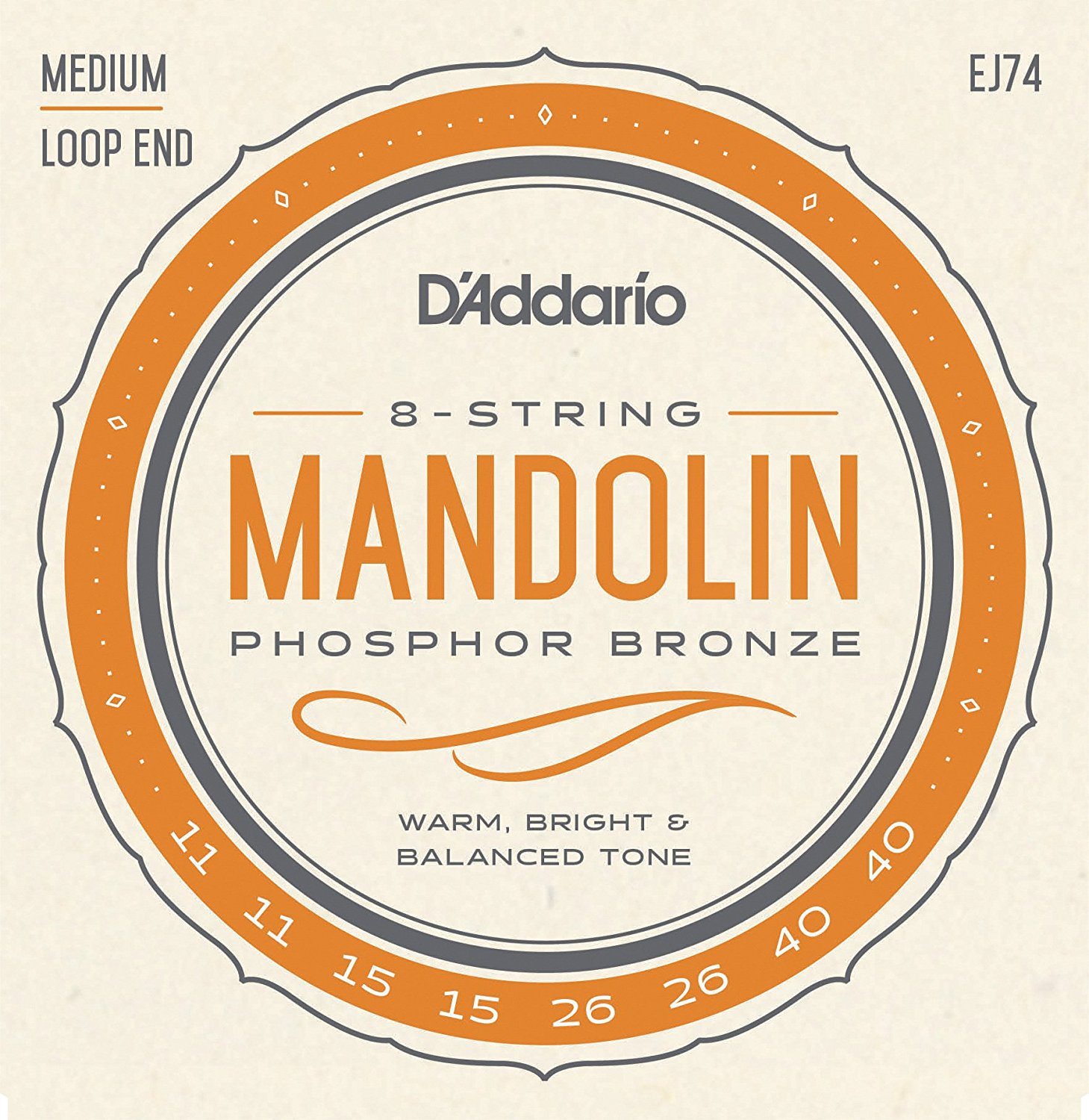 D Addario EJ74 Phosphor Bronze Mandolin Strings, Loop End - Medium, 11-40