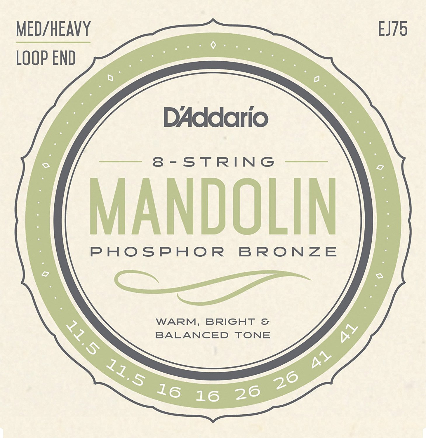 D Addario EJ75 Phosphor Bronze Mandolin Strings, Loop End - Medium/Heavy, 11.5-41