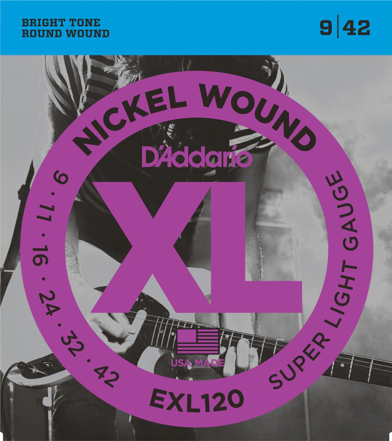 D Addario EXL120 Nickel Wound, Super Light, 9-42