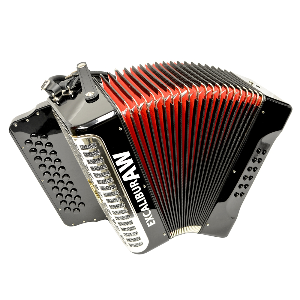 Excalibur Akordeon Werks Button Accordion - Ebony Polish