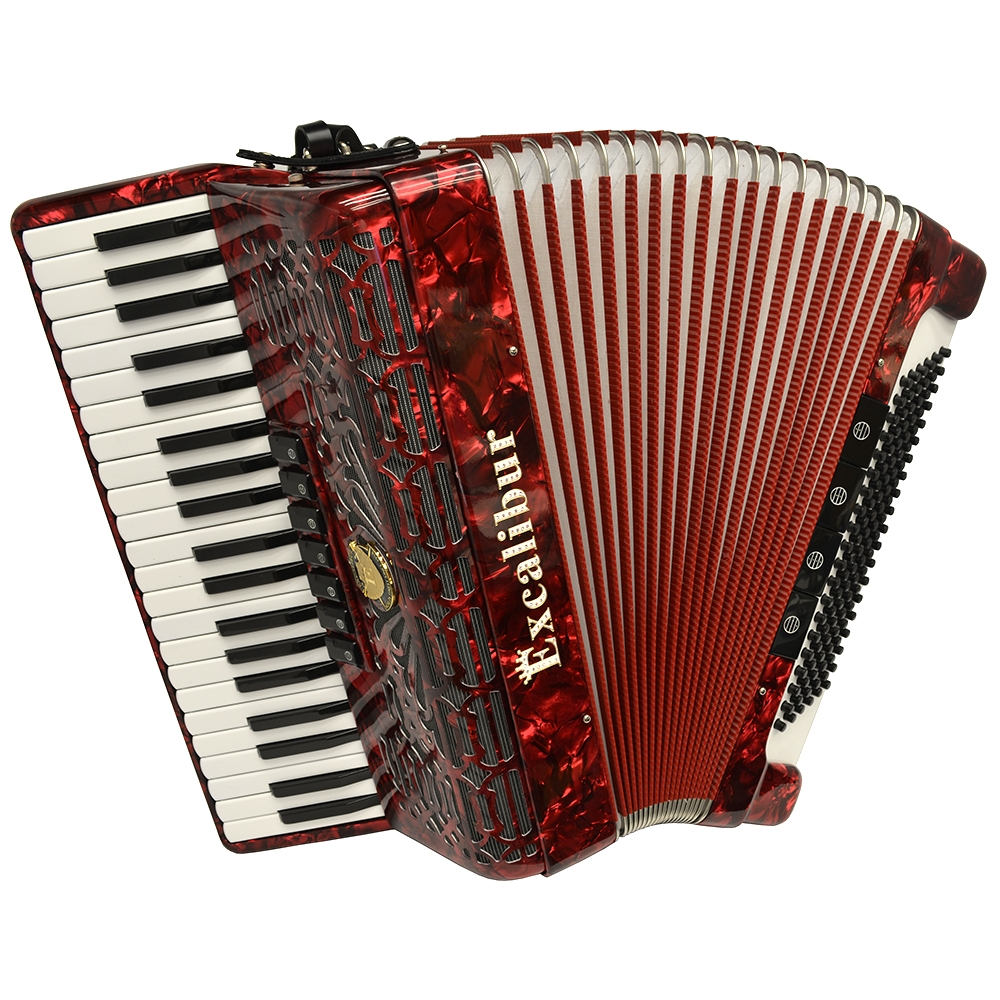 Excalibur Professionale 120 Bass 7-Switch Piano Accordion - Red