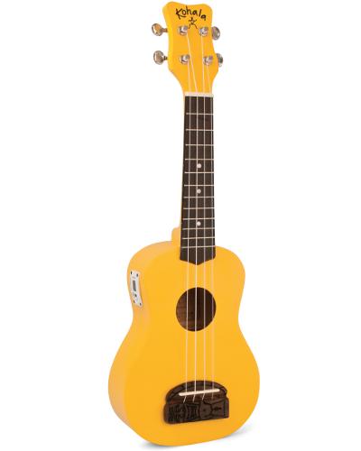 Kohala KT-STYE Tiki Uke Yellow Soprano Ukulele with Built-in-Tuner