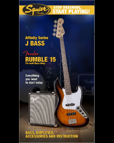 Fender® Squier® Stop Dreaming, Start Playing!™ Set: Affinity Series™ Jazz Bass® with Fender® Rumble™ 15 Amp Brown Sunburst