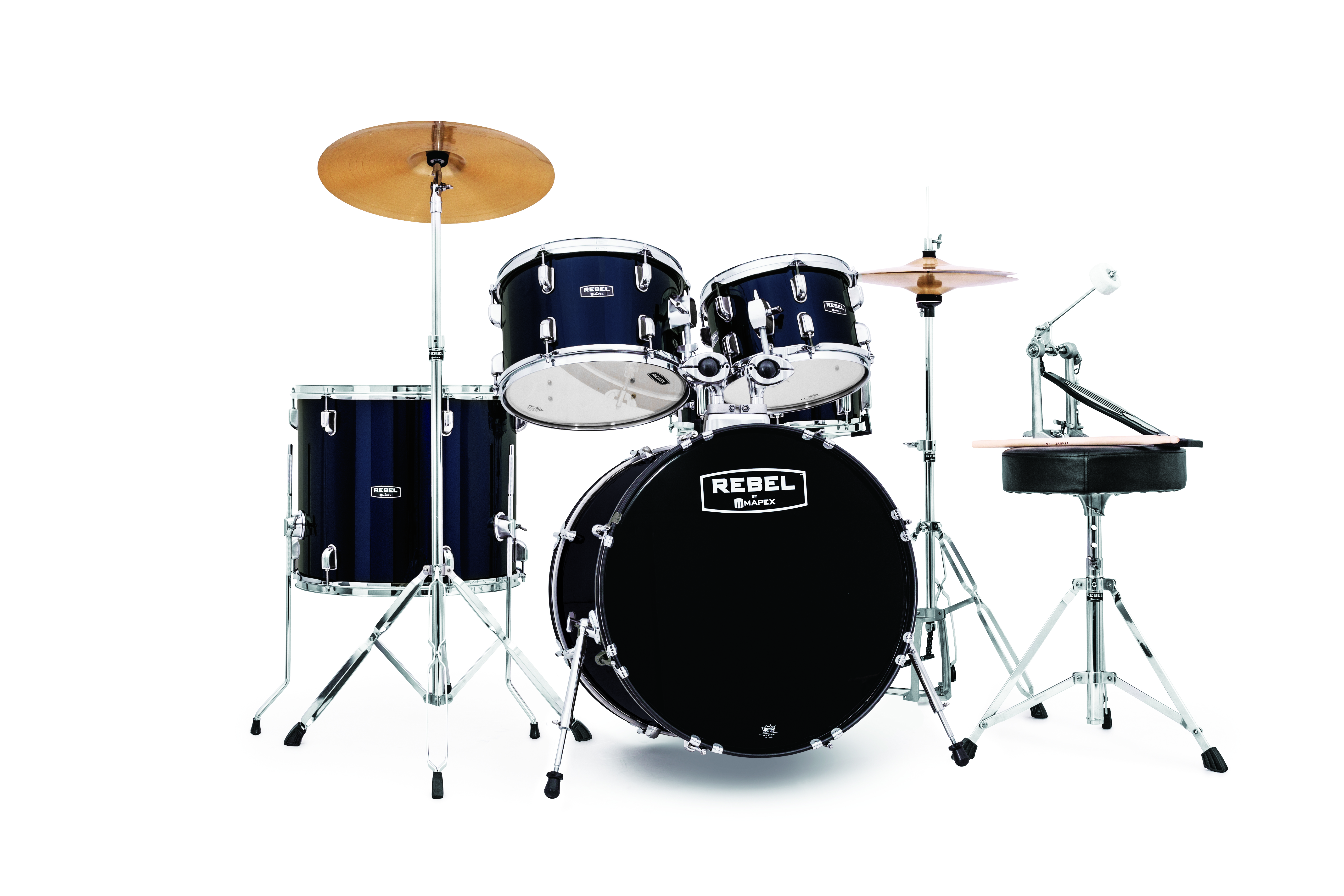Mapex Rebel 5-piece Complete Jazz Set Up with Fast Size Toms - RB5044FTCYB - Royal Blue