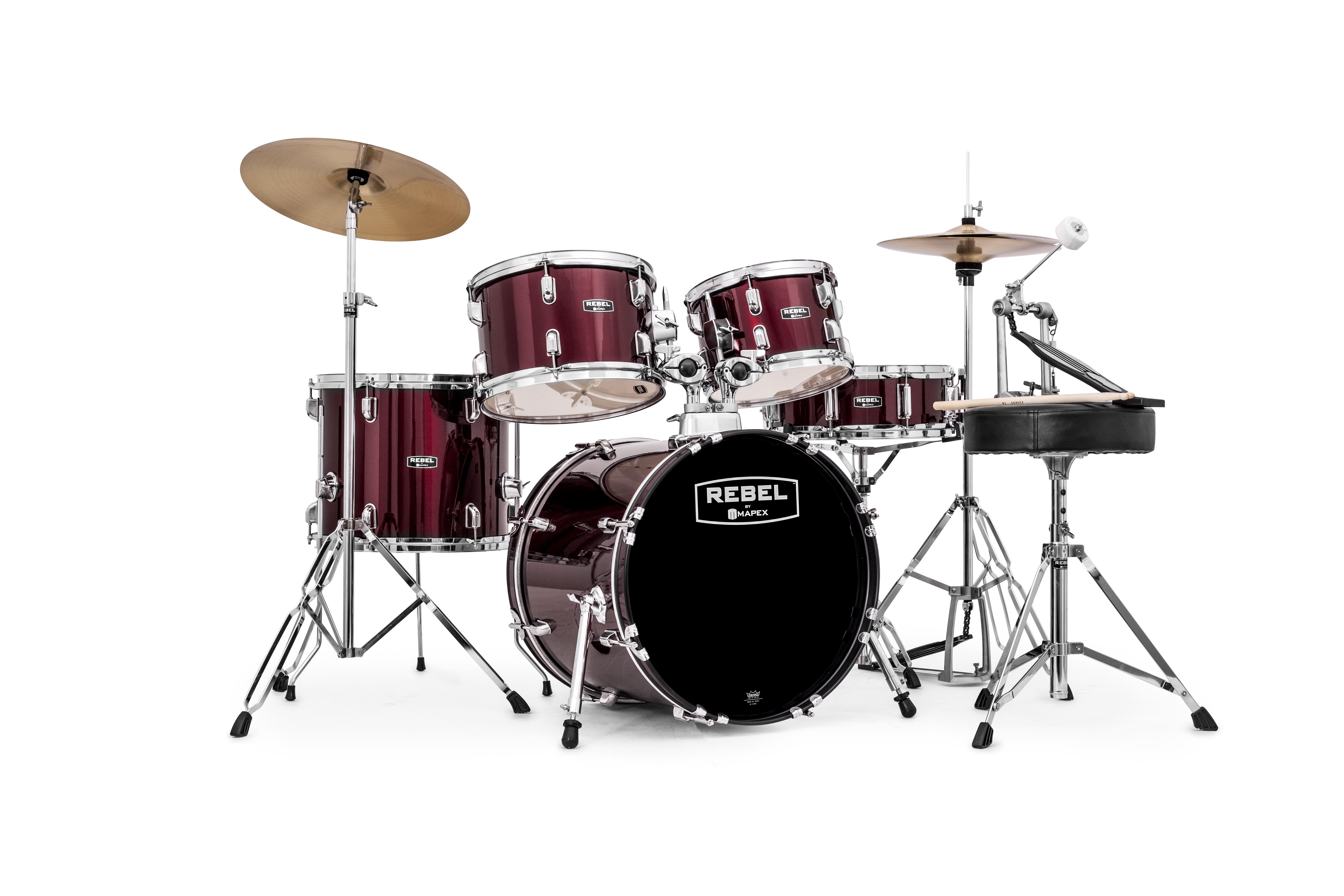 Mapex Rebel 5-piece Complete Junior Set Up with Fast Size Toms - RB5844FTCDR - Dark Red