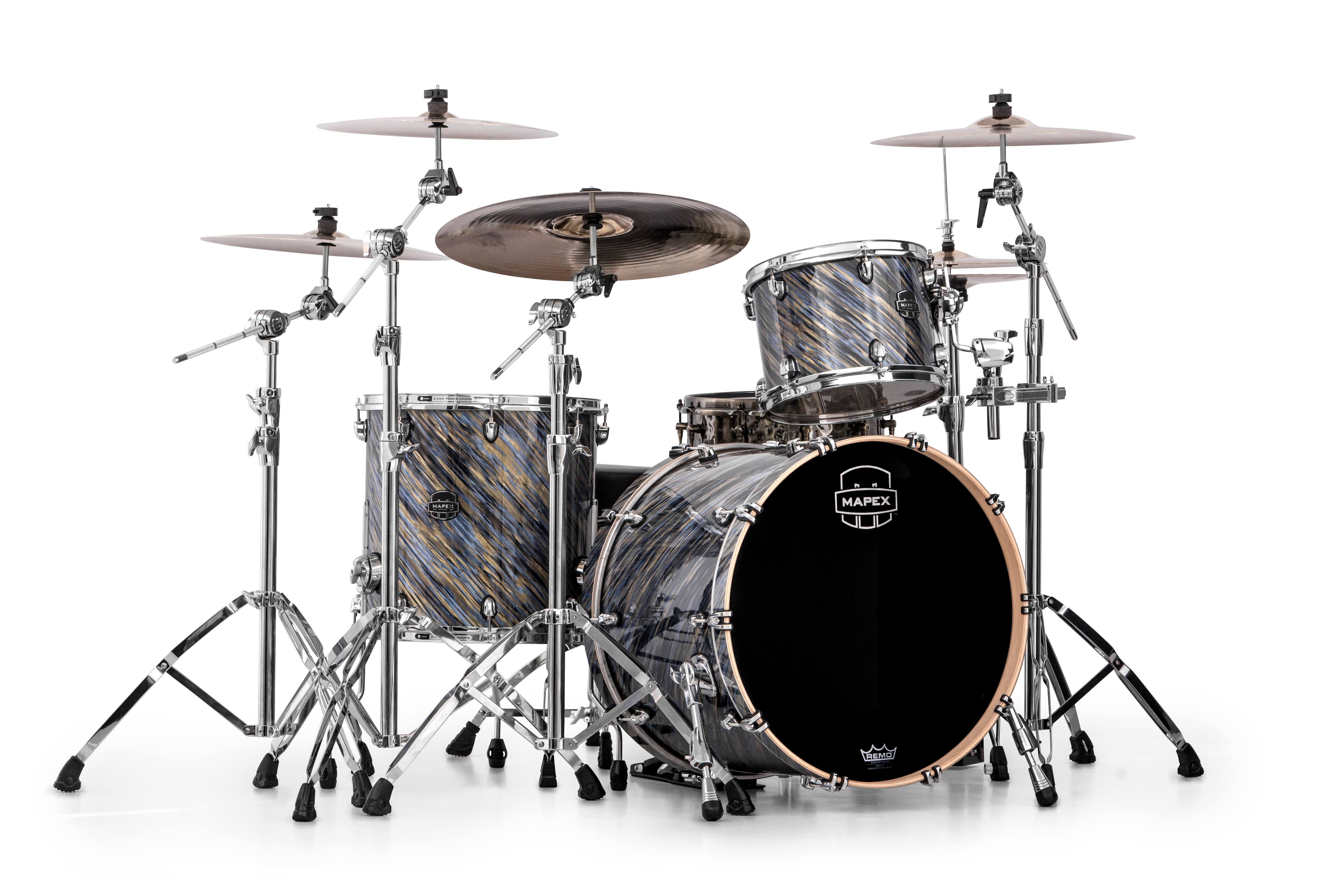 Mapex Saturn V MH Rock 3-piece shell pack with SONIClear Edge - SV426XMA - Marine Spiral