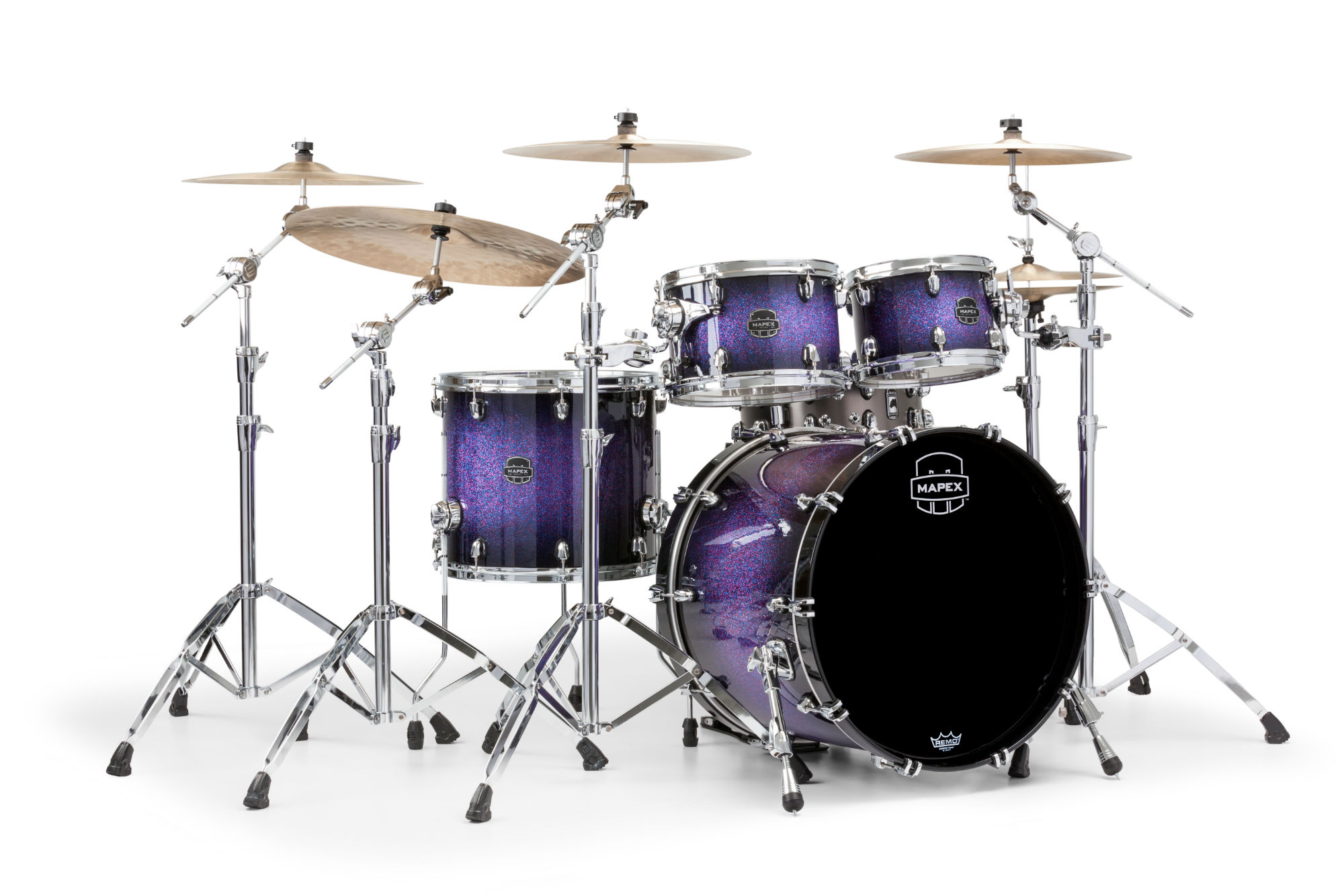 Mapex Saturn V MH Rock 4-piece shell pack with SONIClear Edge - SV529XUPH - Red & Blue Hybrid Sparkle