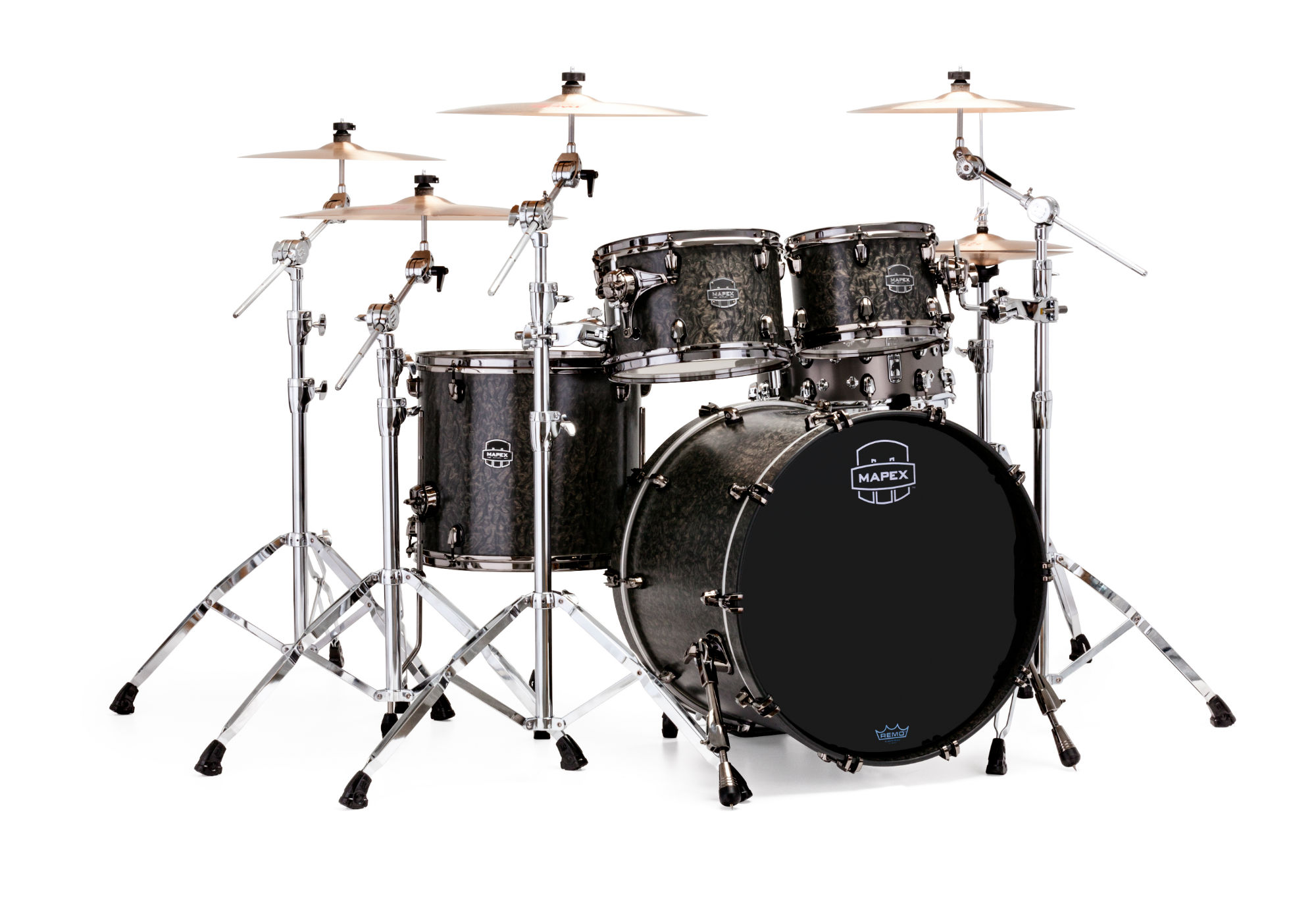 Mapex Saturn V MH Exotic Rock 4-piece shell pack with SONIClear Edge - SV504XBKFB - Satin Black Maple Burl