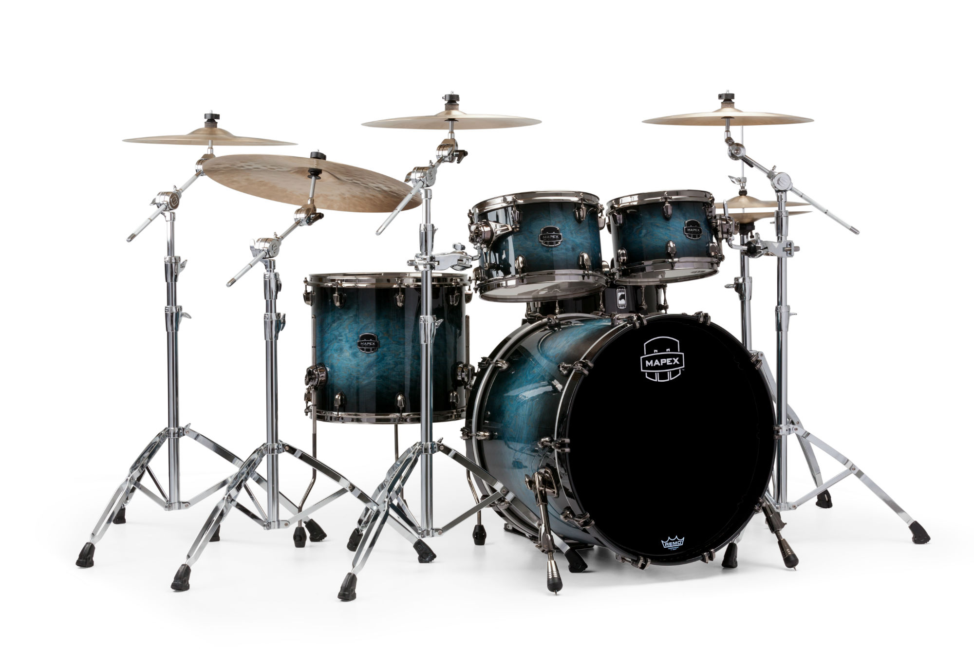 Mapex Saturn V MH Exotic Rock 4-piece shell pack with SONIClear Edge - SV504XBSSL - Deep Water Ash Burl